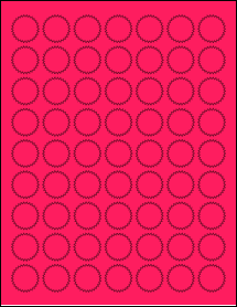 "Sheet of 1"" Starburst Fluorescent Pink labels"