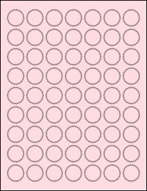 """Sheet of 1"""" Starburst Pastel Pink labels"""