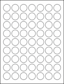 """Sheet of 1"""" Starburst 100% Recycled White labels"""