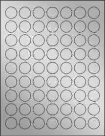 "Sheet of 1"" Starburst Weatherproof Silver Polyester Laser labels"