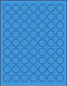 "Sheet of 1"" Starburst True Blue labels"