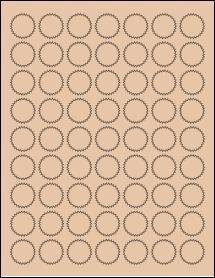 """Sheet of 1"""" Starburst Light Tan labels"""