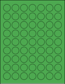 "Sheet of 1"" Starburst True Green labels"