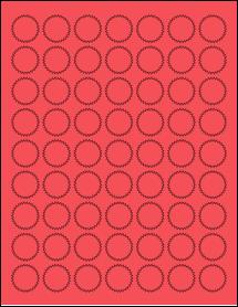 "Sheet of 1"" Starburst True Red labels"