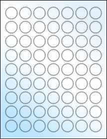 """Sheet of 1"""" Starburst White Gloss Inkjet labels"""
