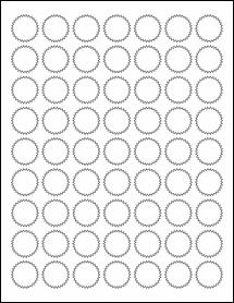 "Sheet of 1"" Starburst Removable White Matte labels"