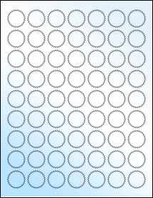 "Sheet of 1"" Starburst White Gloss Laser labels"