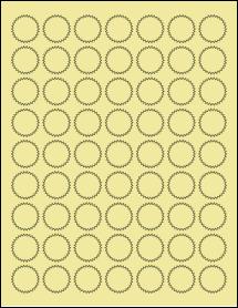 """Sheet of 1"""" Starburst Pastel Yellow labels"""