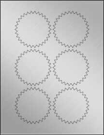 """Sheet of 3"""" Starburst Weatherproof Silver Polyester Laser labels"""
