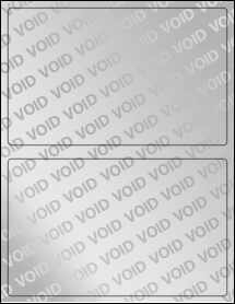 "Sheet of 8"" x 5"" Void Silver Polyester labels"