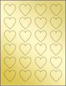 """Sheet of 1.5"""" x 1.5"""" Gold Foil Laser labels"""