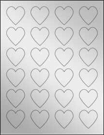 """Sheet of 1.5"""" x 1.5"""" Silver Foil Inkjet labels"""