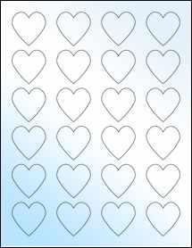 """Sheet of 1.5"""" x 1.5"""" White Gloss Inkjet labels"""