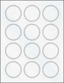 "Sheet of 2.25"" Starburst Clear Matte Inkjet labels"