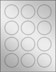 """Sheet of 2.25"""" Starburst Silver Foil Inkjet labels"""
