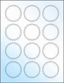 """Sheet of 2.25"""" Starburst White Gloss Inkjet labels"""