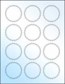 "Sheet of 2.25"" Starburst White Gloss Laser labels"