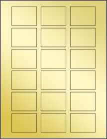 """Sheet of 2"""" x 1.5"""" Gold Foil Inkjet labels"""
