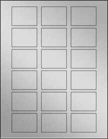 "Sheet of 2"" x 1.5"" Weatherproof Silver Polyester Laser labels"