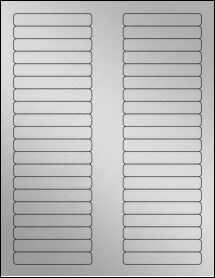 "Sheet of 3.125"" x 0.5"" Weatherproof Silver Polyester Laser labels"