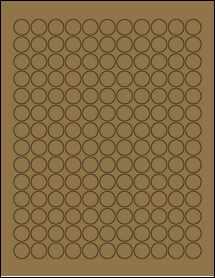 """Sheet of 0.625"""" Circle Brown Kraft labels"""
