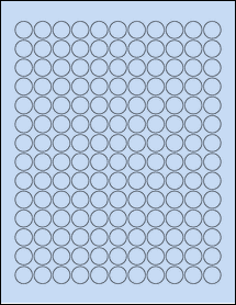 "Sheet of 0.625"" Circle Pastel Blue labels"