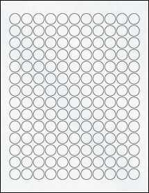 "Sheet of 0.625"" Circle Clear Matte Inkjet labels"