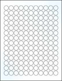 "Sheet of 0.625"" Circle Clear Gloss Laser labels"