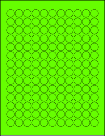 "Sheet of 0.625"" Circle Fluorescent Green labels"