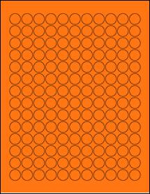 "Sheet of 0.625"" Circle Fluorescent Orange labels"
