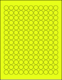 "Sheet of 0.62"" Circle Fluorescent Yellow labels"
