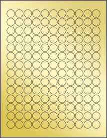 "Sheet of 0.625"" Circle Gold Foil Laser labels"