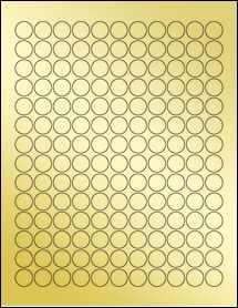 """Sheet of 0.625"""" Circle Gold Foil Inkjet labels"""