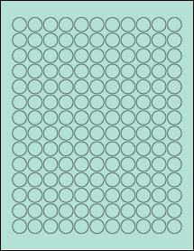 "Sheet of 0.62"" Circle Pastel Green labels"