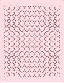 """Sheet of 0.625"""" Circle Pastel Pink labels"""