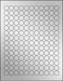 "Sheet of 0.625"" Circle Silver Foil Laser labels"