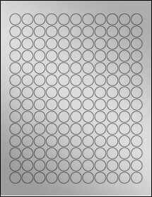 "Sheet of 0.625"" Circle Weatherproof Silver Polyester Laser labels"