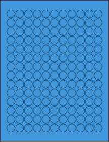 "Sheet of 0.625"" Circle True Blue labels"