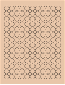 "Sheet of 0.625"" Circle Light Tan labels"