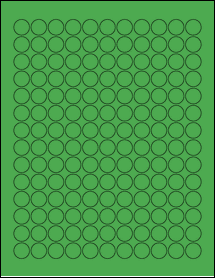 "Sheet of 0.625"" Circle True Green labels"
