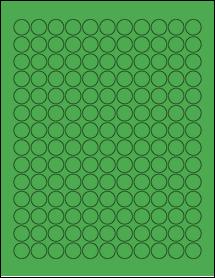 "Sheet of 0.62"" Circle True Green labels"