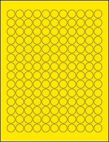 "Sheet of 0.625"" Circle True Yellow labels"
