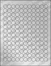 """Sheet of 0.62"""" Circle Void Silver Polyester labels"""