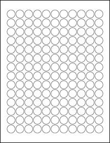 """Sheet of 0.625"""" Circle Weatherproof Gloss Inkjet labels"""