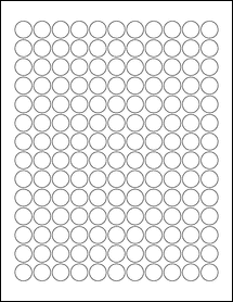 "Sheet of 0.625"" Circle Removable White Matte labels"