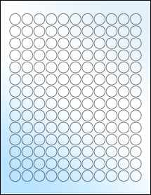 "Sheet of 0.62"" Circle White Gloss Laser labels"
