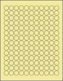 """Sheet of 0.625"""" Circle Pastel Yellow labels"""