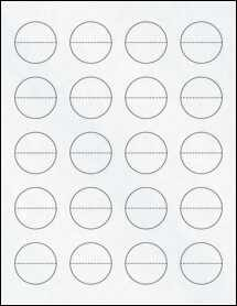 "Sheet of 1.5"" Circle Perf. Center Clear Matte Inkjet labels"