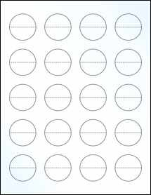 """Sheet of 1.5"""" Circle Perf. Center Clear Gloss Inkjet labels"""