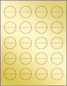 "Sheet of 1.5"" Circle Perf. Center Gold Foil Laser labels"